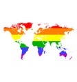 map earth painted in colors of the rainbow lgbt vector image