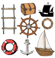 marine related objects vector image
