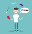 modern lifestyle go vegan young bearded man vector image vector image