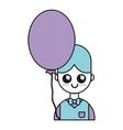 nice boy with uniform clothes and balloon vector image vector image