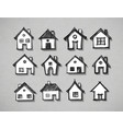 paper cut sketches houses with realistic shadow vector image vector image