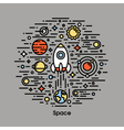 Planets stars and rocket Space icons vector image vector image