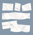realistic empty torn wrinkled paper notes on blue vector image