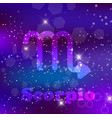 scorpio zodiac sign on a cosmic purple background vector image
