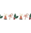 seamless christmas border hand drawn vector image vector image