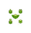 set box and leaf logo designs inspiration vector image vector image