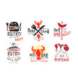set concise black red barbecue logos vector image vector image