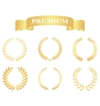 Set gold floral wreaths Template for wedding vector image