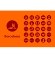 Set of Barcelona simple icons vector image vector image