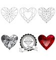 Set of heart cut jewel views vector image vector image