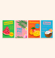 set summer flyerscards with tropical themes vector image