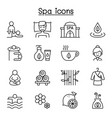 spa massage aroma therapy icon set in thin line vector image