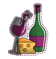 sticker glass splashing wine and bottle and cheese vector image vector image