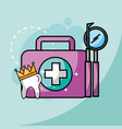 tooth in crown kit and tools dental care vector image