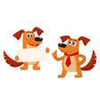 two funny cute brown dog characters vector image vector image