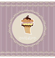 Vintage card-invitation with cupcake vector image vector image