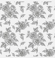 Vintage rose flowers buds and leaves seamless