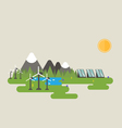 Wind turbine in the mountains vector image