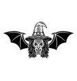 witch head with bat wings