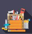 workspace carpenter tools trendy flat icon on vector image vector image