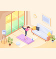 yoga home woman doing exercise in room isometric vector image