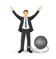 debt free happy man in suit on vector image