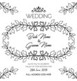hand drawn black and white floral wedding vector image