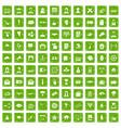 100 journalist icons set grunge green vector image vector image