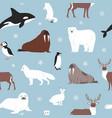 arctic animals seamless pattern cartoon vector image vector image