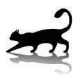 black cat logo vintage cat silhouette on white vector image vector image