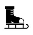 black icon ice skate cartoon vector image