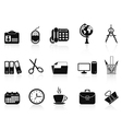 black office tools icon set vector image vector image