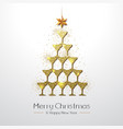 christmas poster with golden champagne glass vector image