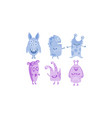 cute monsters set blue and purple funny alien vector image