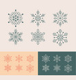 cute snowflakes collection isolated on yellow and vector image