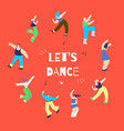 dancing disco man woman action-oriented banner vector image vector image