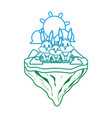 degraded line family rabbit animal in float island vector image vector image