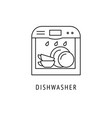 dishwasher outline icon vector image vector image