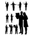 doctor and nurse gesture silhouette vector image vector image