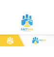 factory and wifi logo combination industry vector image