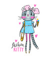fashion kawaii kitty a cat vector image vector image