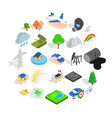 flammable icons set isometric style vector image vector image