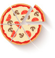 Flat design pizza icons isolated on white vector image