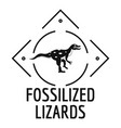 fossilized lizard logo simple black style vector image vector image