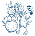 Funny selfie Blue cock and snowman vector image vector image