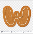 gingerbread letter w symbol with drop shadow vector image