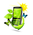 green eco mobile phone vector image vector image
