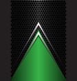 green triangle silver arrow on black hexagon vector image vector image