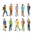 group of teenage guys dressed in different clothes vector image