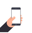 hand holding smartphone with blank screen flat vector image